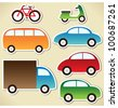 Transport set - cartoon cars, lorry, truck, bicycle, bus and motorcycle. - stock vector