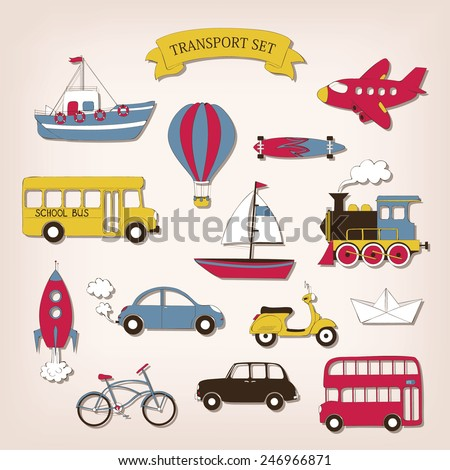 Transport set in cartoon style - stock vector