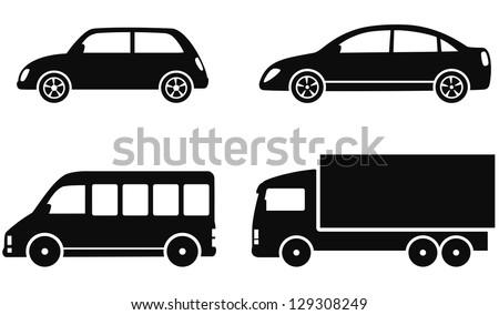 transport set of black cars on white background - stock vector