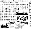 Transport set of black sketch. Part 1. Isolated groups and layers. - stock vector