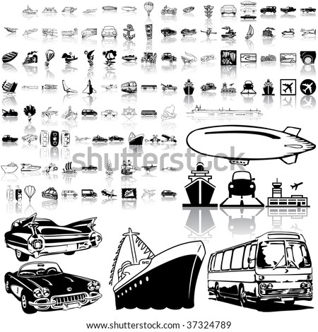 Transport set of black sketch. Part 4. Isolated groups and layers. - stock vector