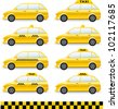transport set of isolated cars  with taxi symbol - stock vector