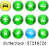 Transport set of round glossy icons. - stock vector