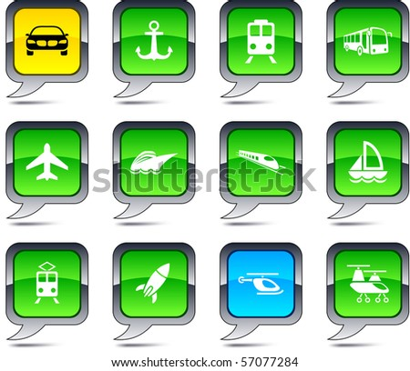 Transport set of square balloon icons. - stock vector