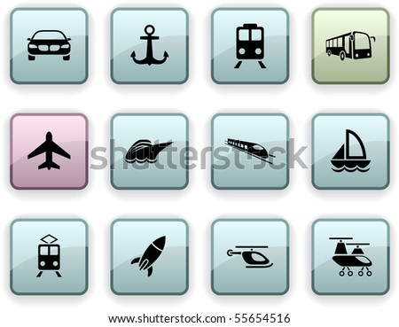 Transport set of square dim icons. - stock vector