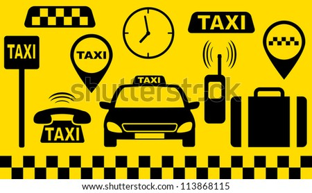 transport set of taxi objects silhouette on yellow background - stock vector