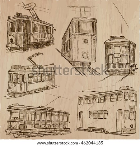 Transport set. Tramways. Transportation by Tram. Collection of an hand drawn vector illustrations. Each drawing comprise a few layers of editable outlines. Freehand sketching pack.