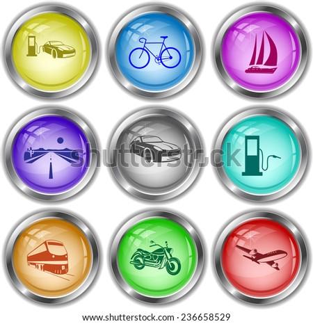 Transport set. Vector internet buttons. - stock vector