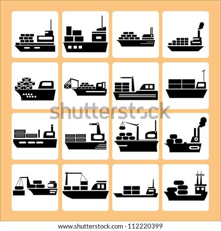 transport, ship, vessel set - stock vector