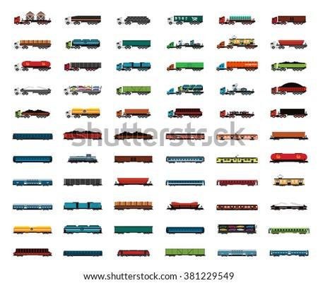 Transport trucks Railway Iron Ore,Coal,Wood,Goods,Oil,wagons. and Locomotives - stock vector