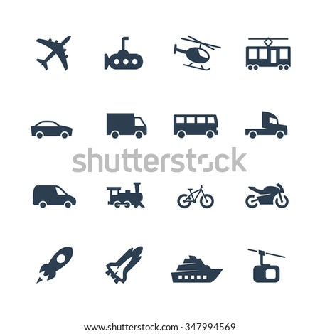 Transport vector icons set, side view - stock vector