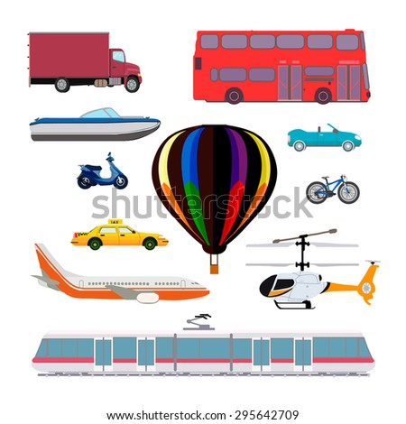 Transport vector set. Taxi, airplane, helicopter, balloon, train, train, tram, truck, moped, scooter, motorcycle, car