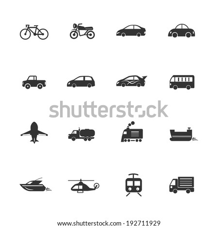 Transport vehicles Icons waterways, overland, air - stock vector
