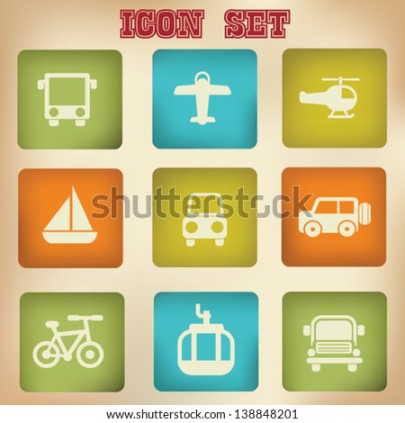 Transport vintage icons,vector - stock vector