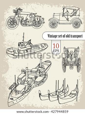transport. vintage set - stock vector