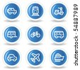 Transport  web icons, blue glossy circle buttons - stock vector