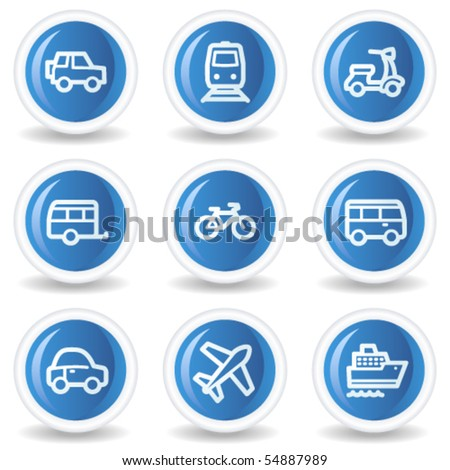 Transport  web icons, blue glossy circle buttons