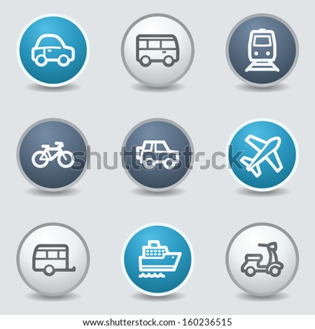 Transport web icons, circle blue buttons