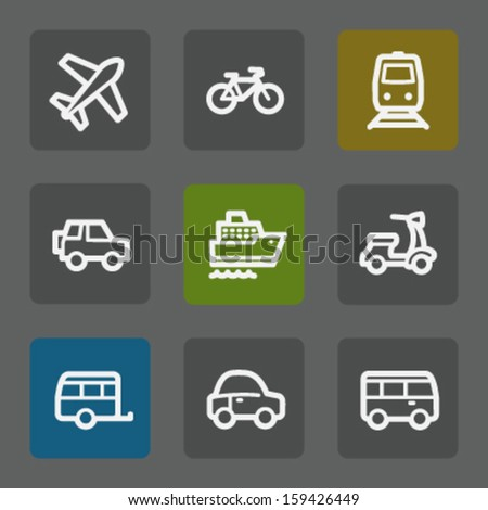Transport web icons, flat buttons