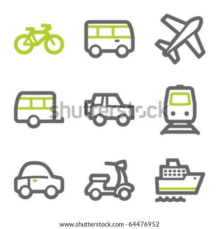 Transport web icons, green and gray contour series - stock vector