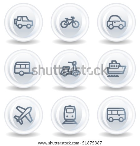 Transport  web icons, white glossy circle buttons