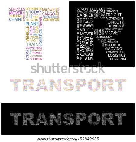 TRANSPORT. Word collage. Vector illustration. - stock vector