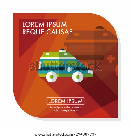Transportation ambulance flat icon with long shadow,eps10 - stock vector