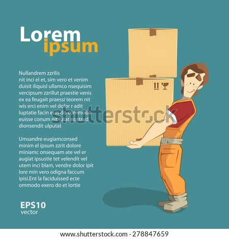 Transportation and delivery company illustration. A postman courier holding big heavy carton cardboard box. 3d color vector creative concept with character.