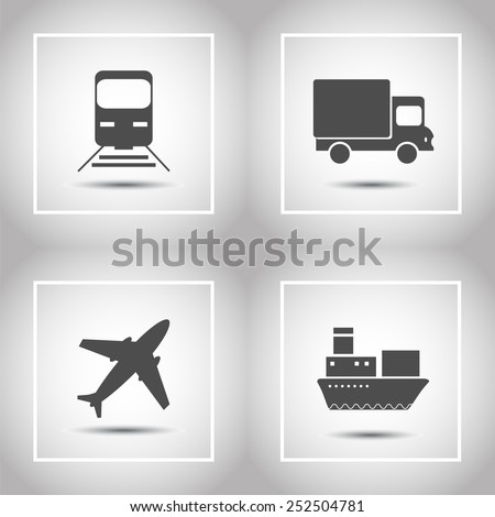 Transportation and delivery icons flat set. Vector illustration