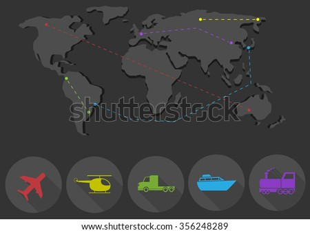 Transportation and delivery network, airplane helicopter truck ship train icons. Vector illustration - stock vector