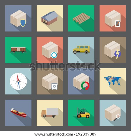 Transportation and delivery of goods flat icons set - stock vector