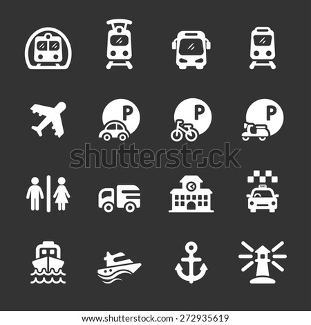 transportation and infrastructure icon set, white version, vector eps10. - stock vector