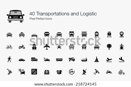 Transportation and Logistic Pixel Perfect Icons - stock vector