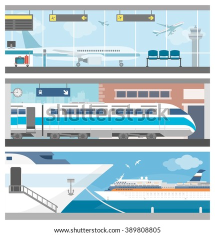 Transportation and travel banner set: airport with airplanes, a train at the railway station and a cruise ship sailing - stock vector