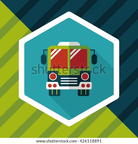 Transportation bus flat icon with long shadow,eps10