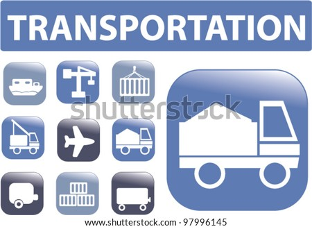 transportation buttons set, vector - stock vector