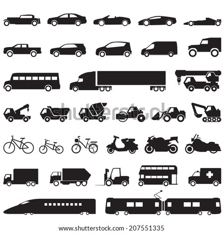 Transportation car icons set - stock vector