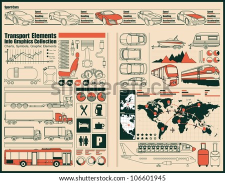 transportation,car Information Graphics.vector set - stock vector