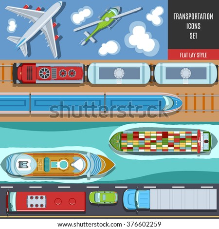 Transportation Colorful Icons Set. Top View. Flat lay Style. - stock vector
