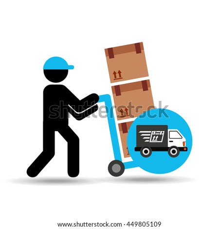 transportation delivery service box warehouse isolated, vector illustration - stock vector