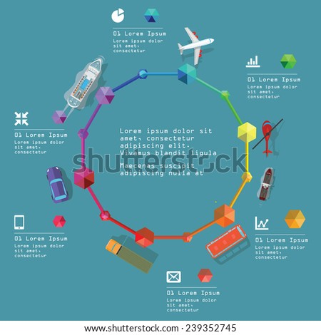 Transportation design infographic elements. Eps 10 Vector Illustration. - stock vector