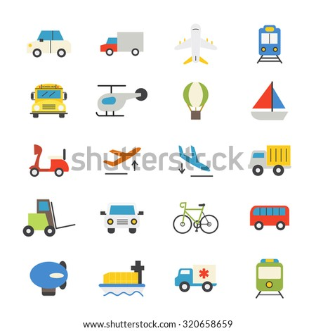 Transportation Flat Icons color - stock vector