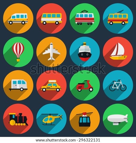 Transportation flat icons set. Minibus and boat, moped and motorcycle, train and taxi, trolleybus and airplane, yacht and ship. Vector illustration - stock vector