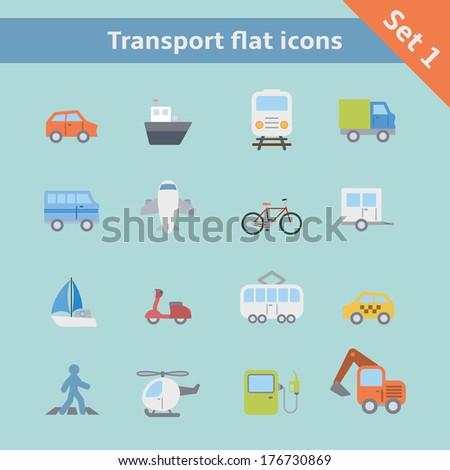 Transportation flat icons set of car truck bus pedestrian isolated vector illustration - stock vector