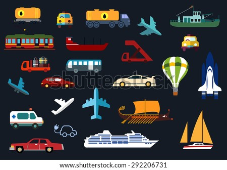 Transportation flat icons with airplanes, aircraft steps, hot air balloon, shuttle, bus, cars, taxi, ambulance, tank truck and wagon, electric train, yacht, barge, cruise liner, trawler and galley - stock vector