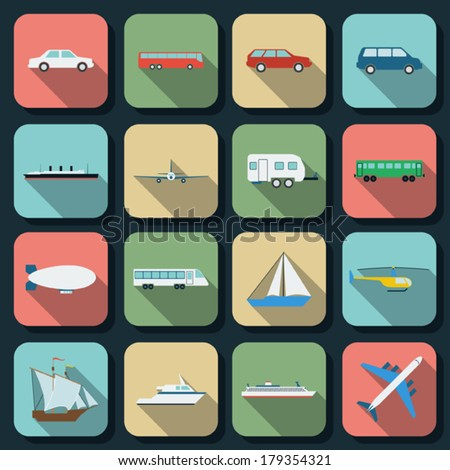 Transportation flat vector icons - stock vector