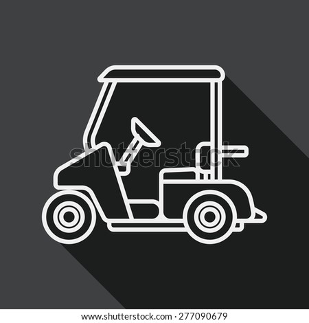 Transportation Golf Cart flat icon with long shadow, line icon - stock vector