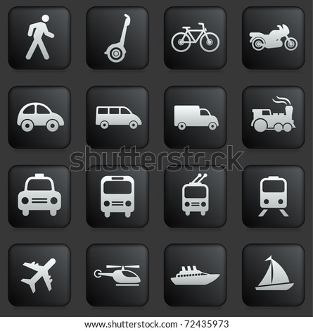 Transportation Icon on Square Black and White Button Collection Original Illustration - stock vector
