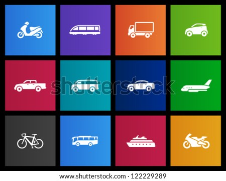 Transportation icon series in Metro style - stock vector
