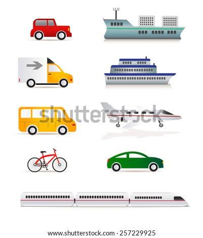 Transportation icon set - Illustration EPS 10 - stock vector